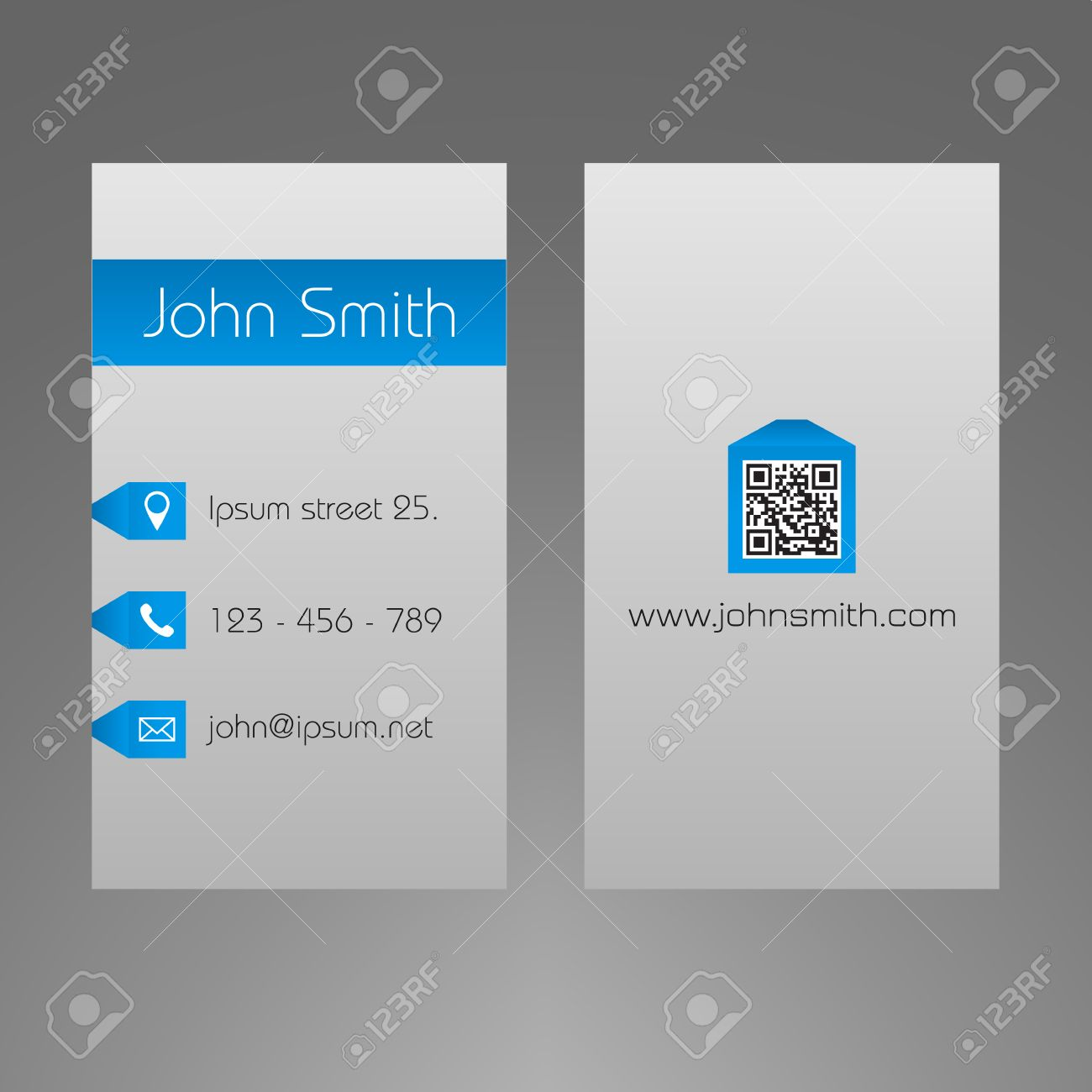 Business Card Template - Light Grey And Blue Design - Minimalistic ...