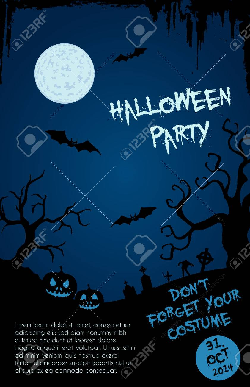 Halloween Party Flyer Template - Blue And Black Design With Horror ...