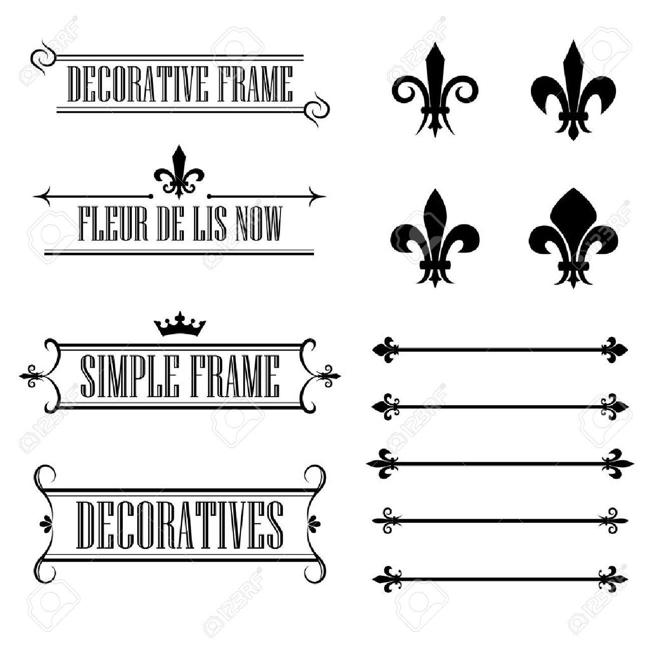 Set Of Calligraphic Flourish Design Elements Fleur De Lis
