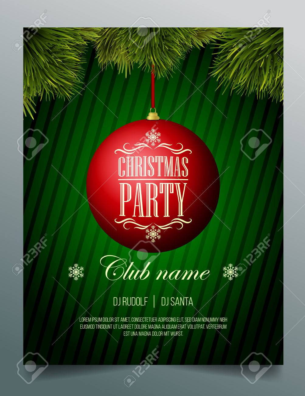 christmas party flyer template red bauble on a green background christmas party flyer template red bauble on a green background stock vector 34837715