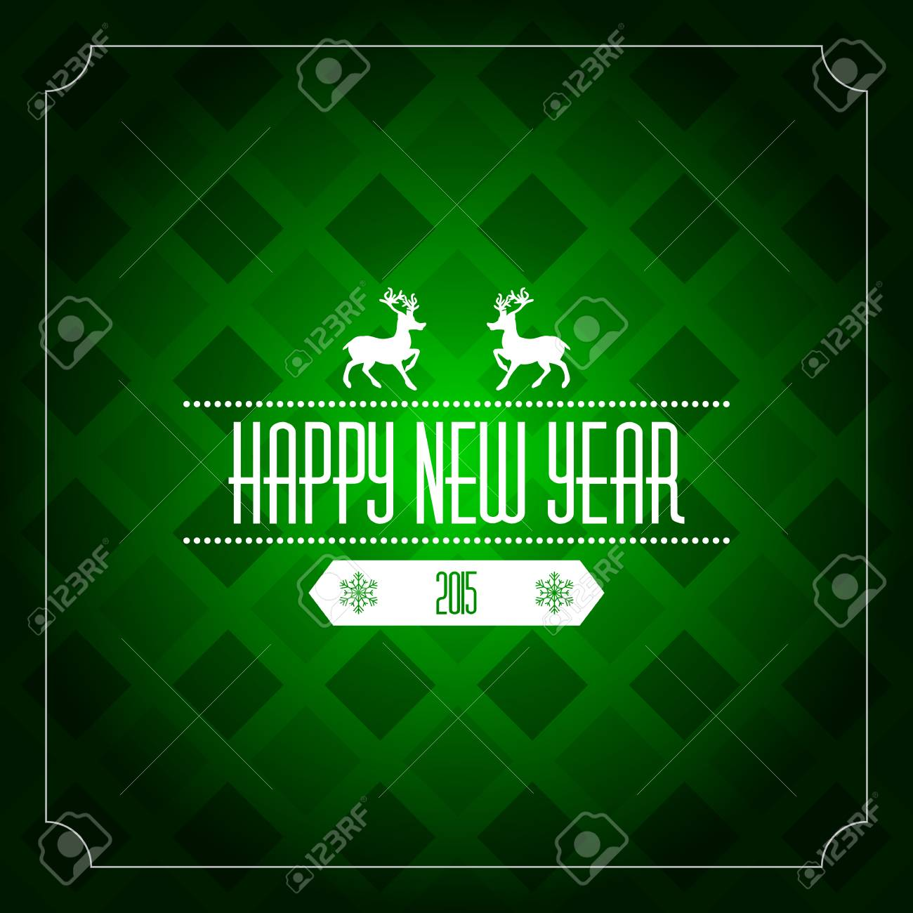 Happy New Year 2015 Greeting Card Template Green Pattern Royalty