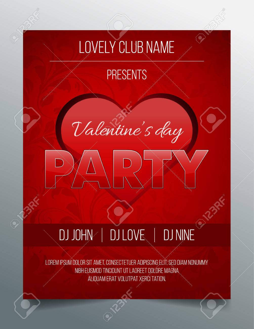 Valentines Day Party Flyer - Red And Black Design Royalty Free ...