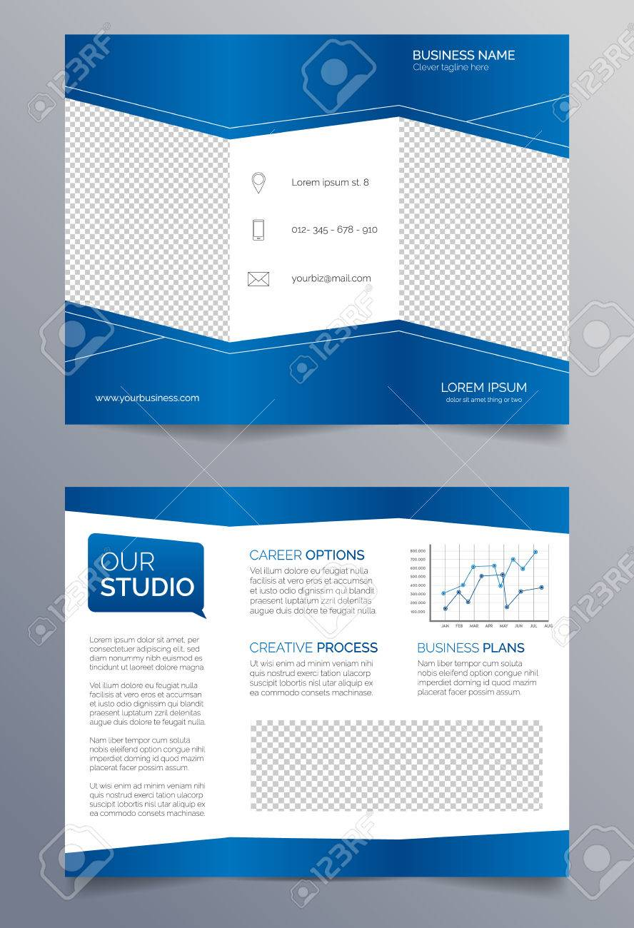 business trifold brochure template blue and white sleek modern
