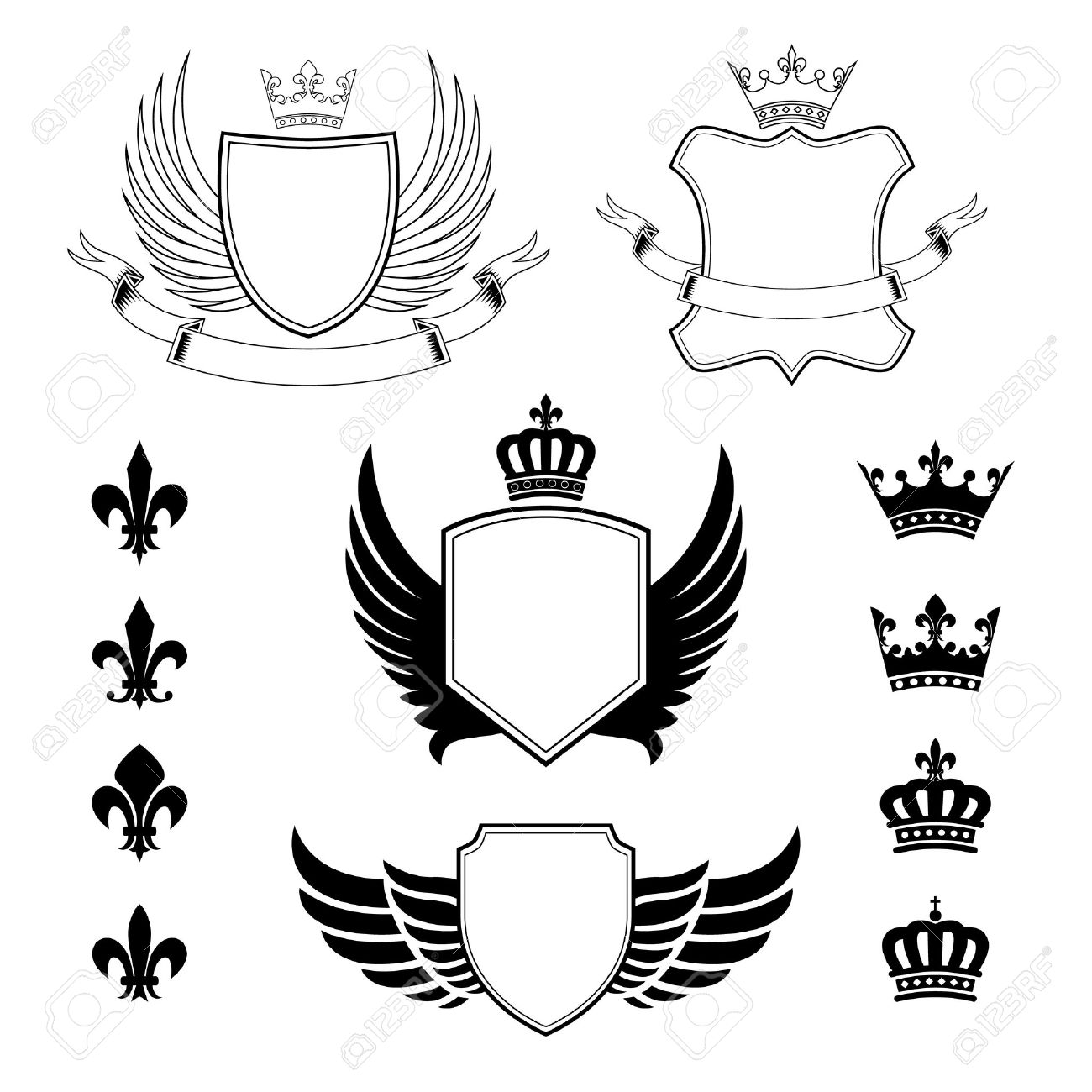 Set Of Winged Shields - Coat Of Arms - Heraldic Design Elements ...