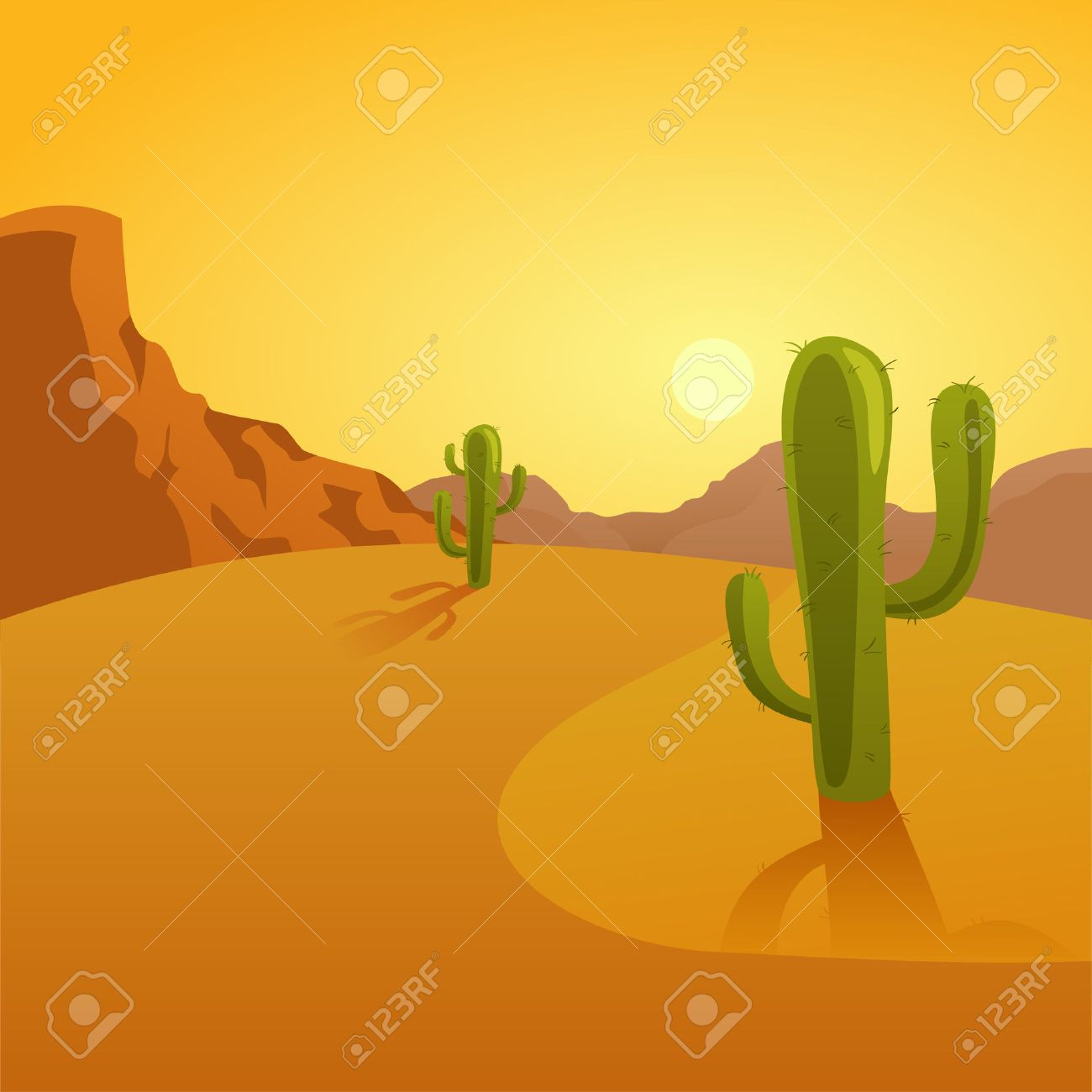 Cartoon Illustration Of A Desert Background With Cactuses Royalty