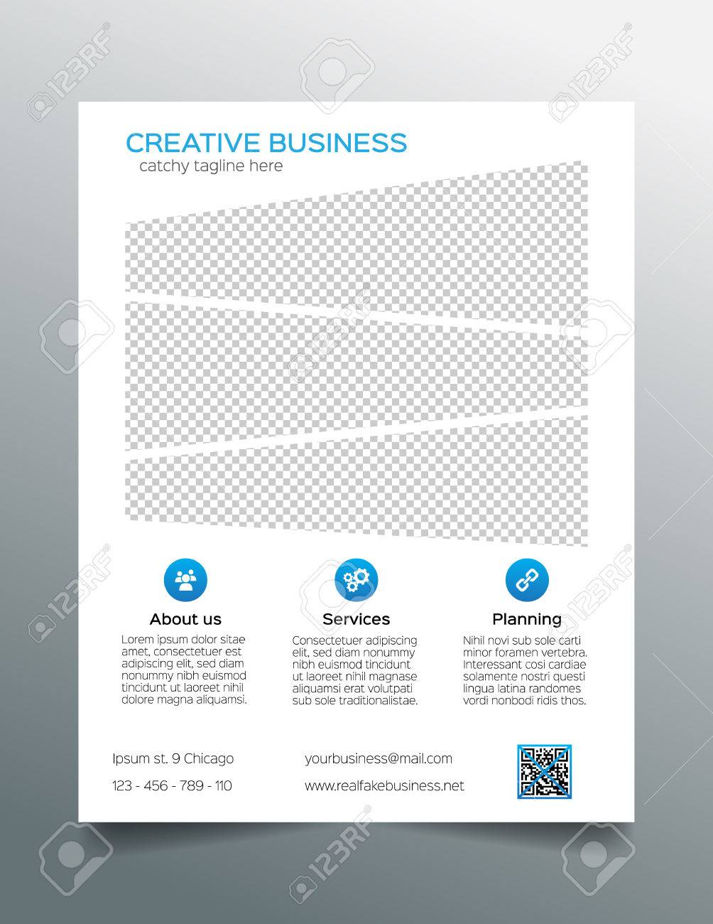 corporate business flyer template simple white and blue design stock vector 38733683