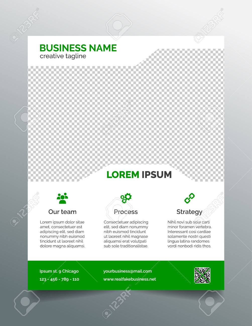 business flyer template simple green design royalty free cliparts
