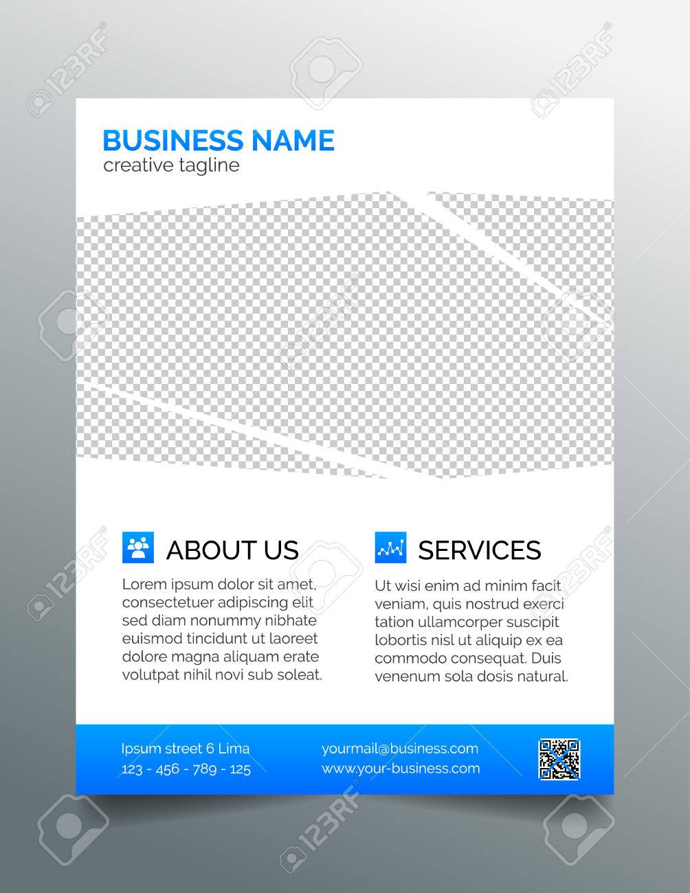 Corporate Business Flyer Template Light Blue Design Royalty Free