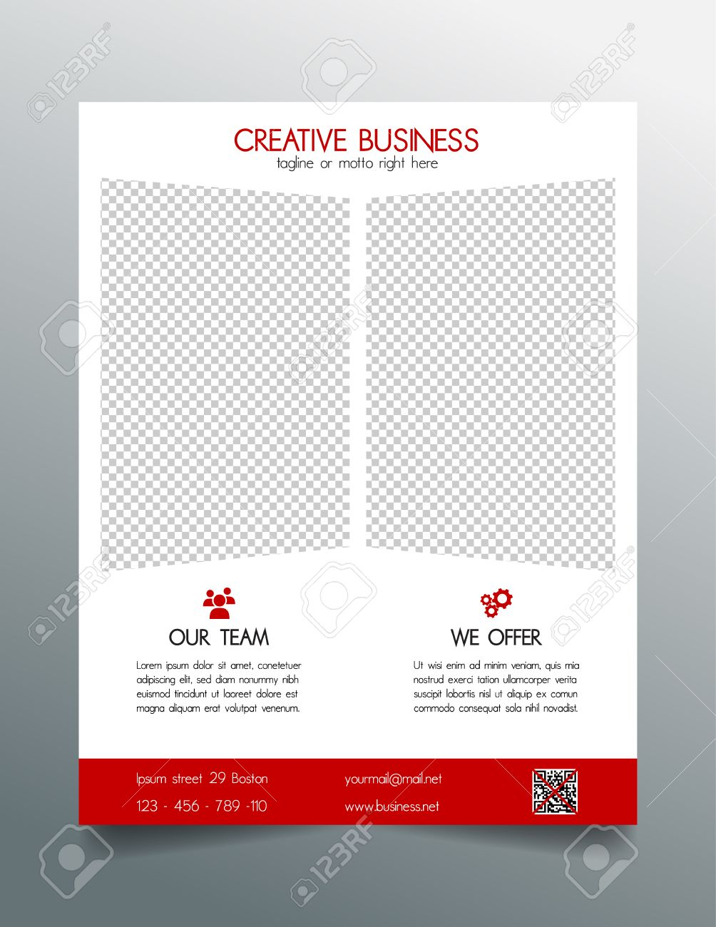 creative business flyer template red sleek simple modern design stock vector 39391362