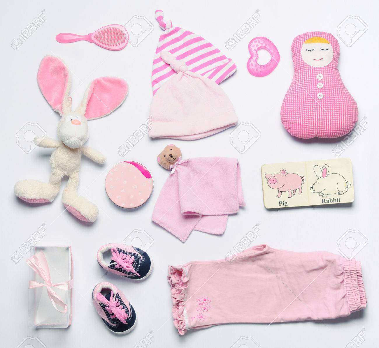 a19978235 Top View Set Of Fashion Trendy Pink Stuff For Baby Girl