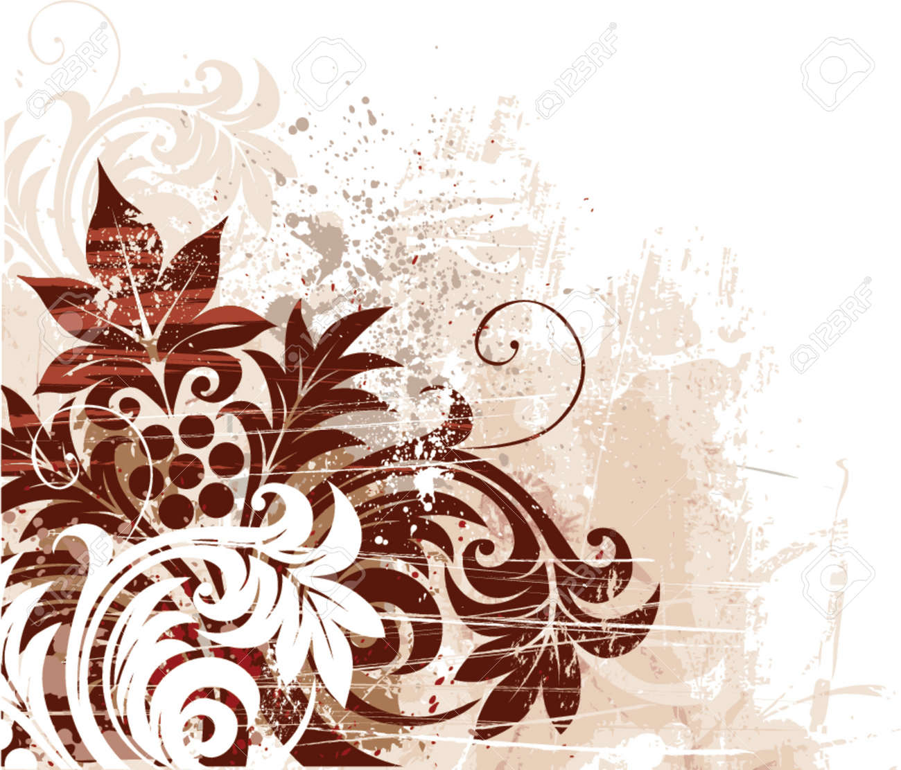 Vector grunge floral background Stock Vector - 755640