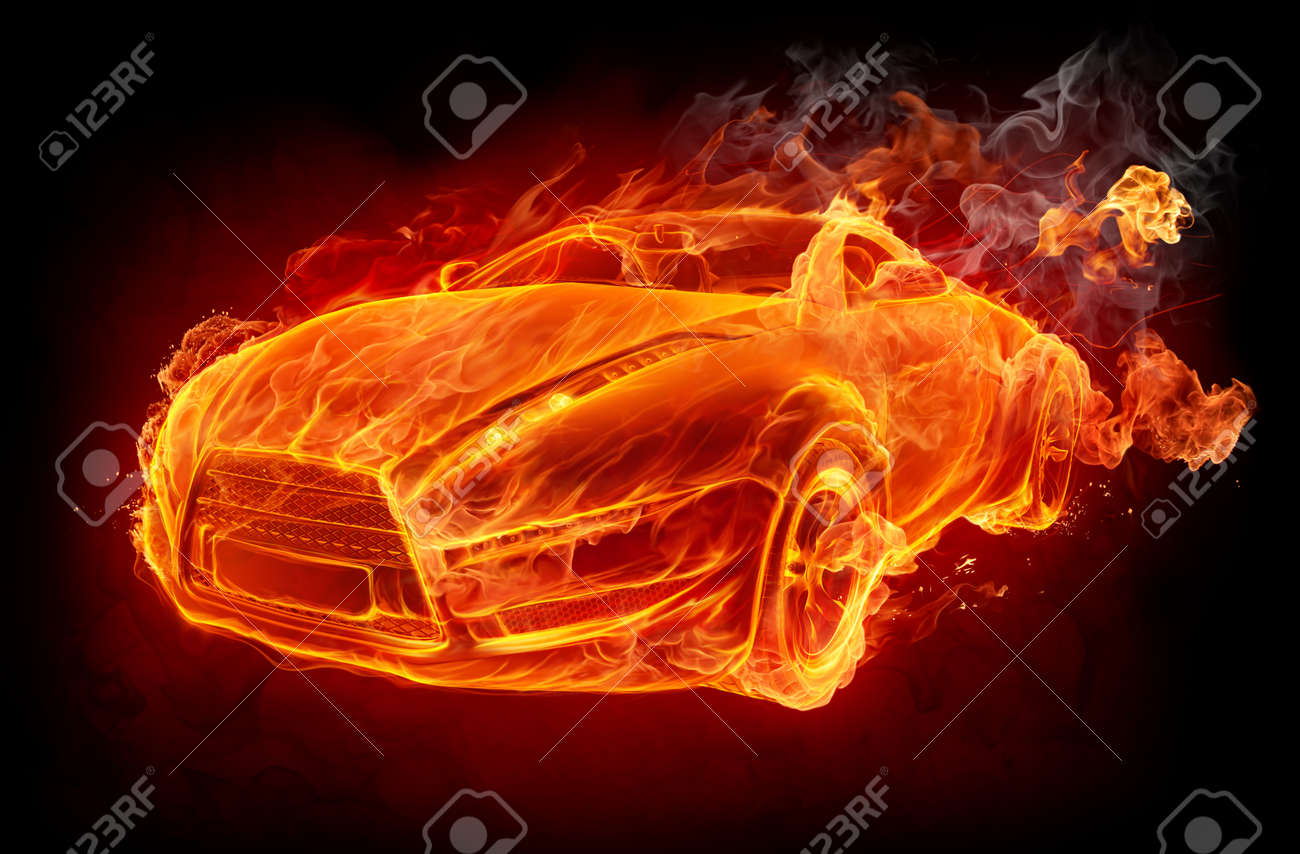 Fire car on a black background Stock Photo - 7599637