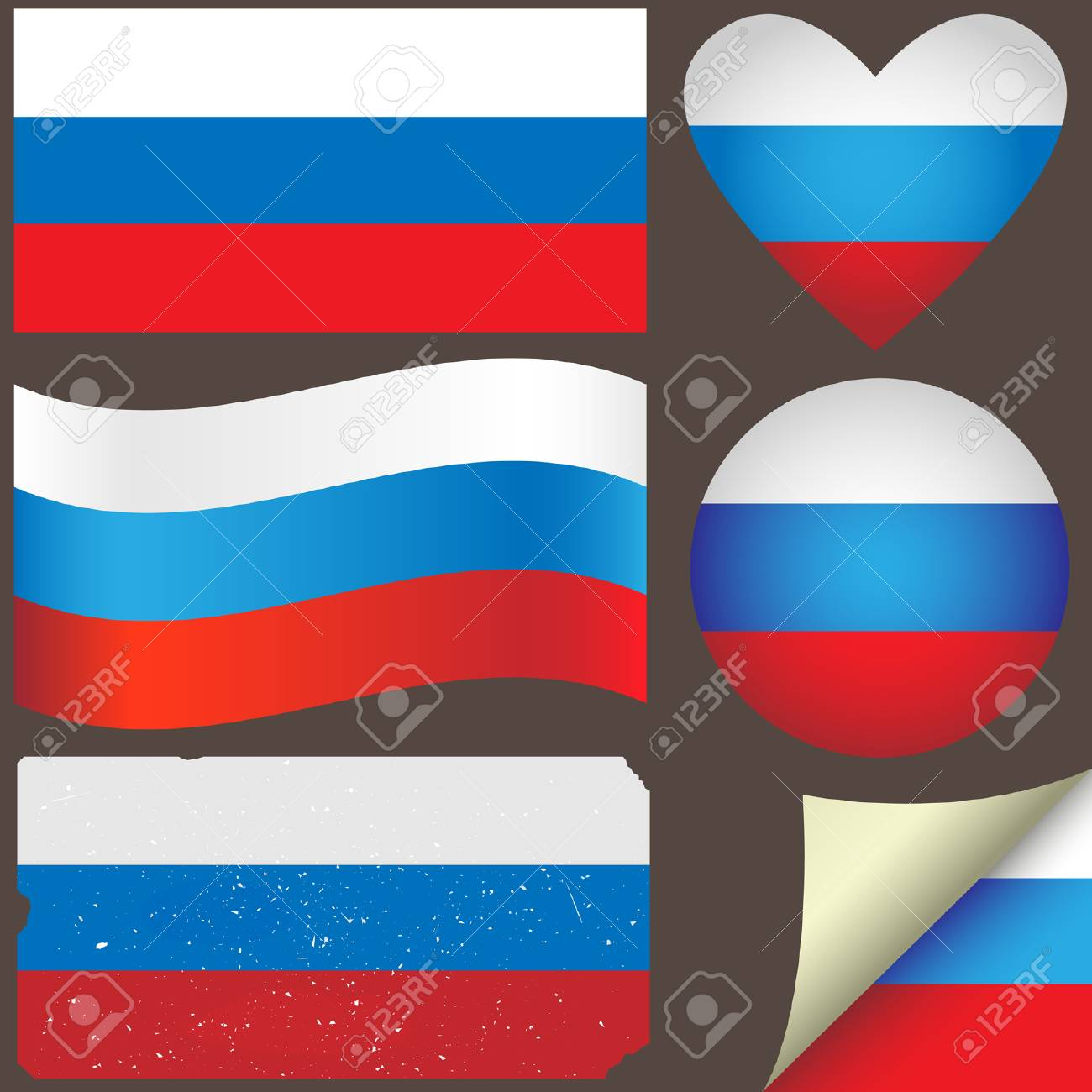 Russia icon set of flags. Fully editable Stock Vector - 25634484