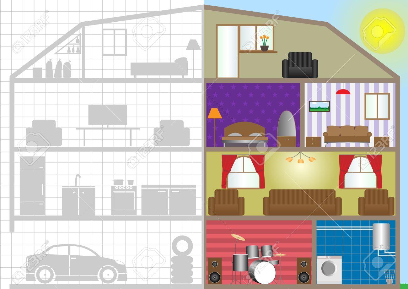 Querschnitt Haus, Gebäudeinnere Plan. Vektor-Illustration ... size: 1300 x 920 post ID: 4 File size: 0 B