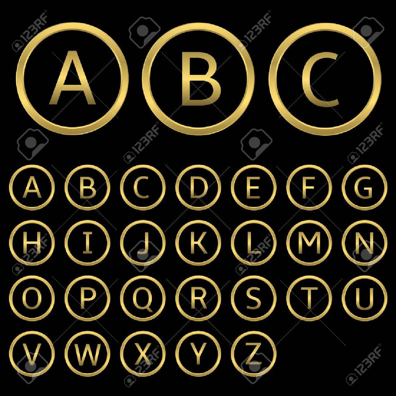 Letras De Oro Con Marcos Redondos De Oro. Alfabeto Inglés ...