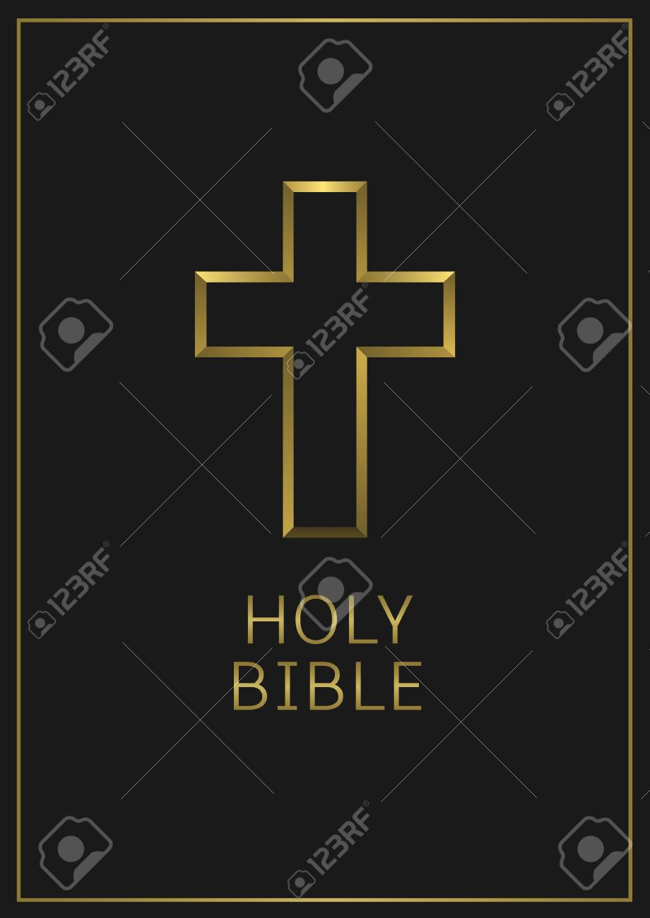 Holy Bible text and golden cross on the black book cover  Religion