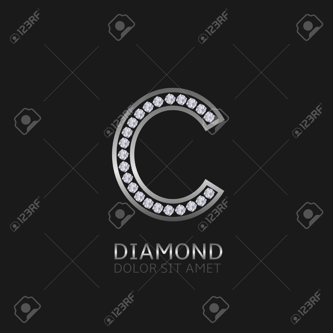 Silver Metal Letter C Logo With Diamonds Luxury Royal Wealth