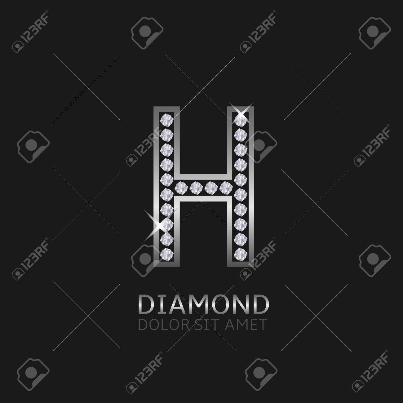 96c93136efe Silver Metal Letter H Logo With Diamonds. Luxury