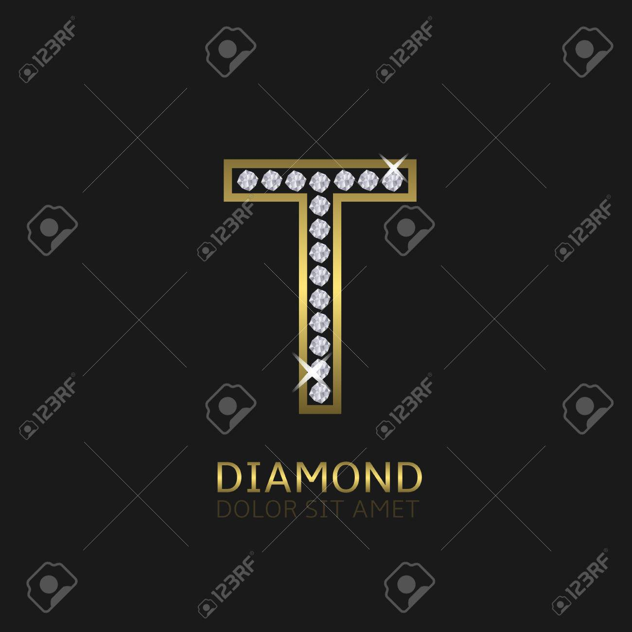 Golden Metal Letter T Logo With Diamonds Luxury Royal Wealth