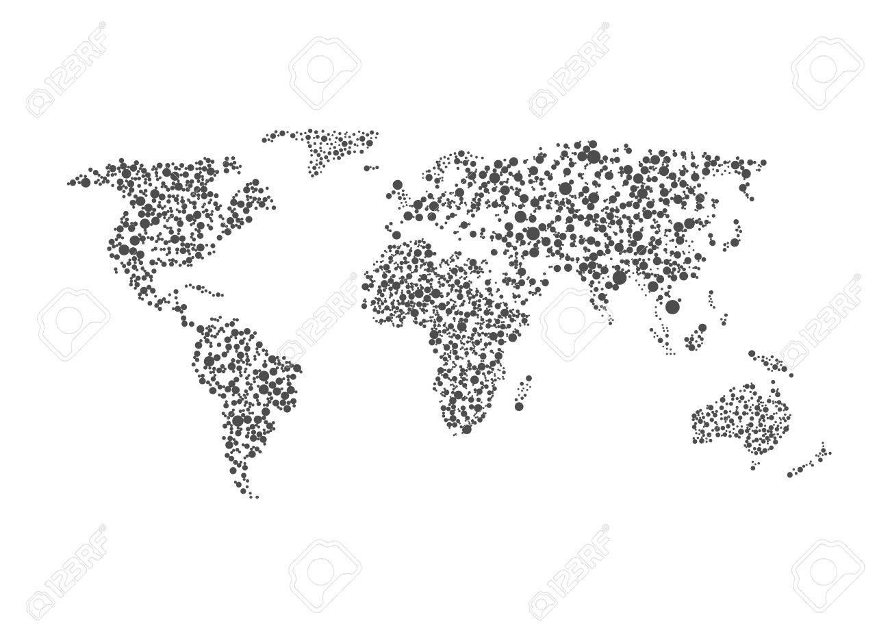 carte du monde graphique Carte Du Monde Abstrait Graphique Pointillé. Illustration