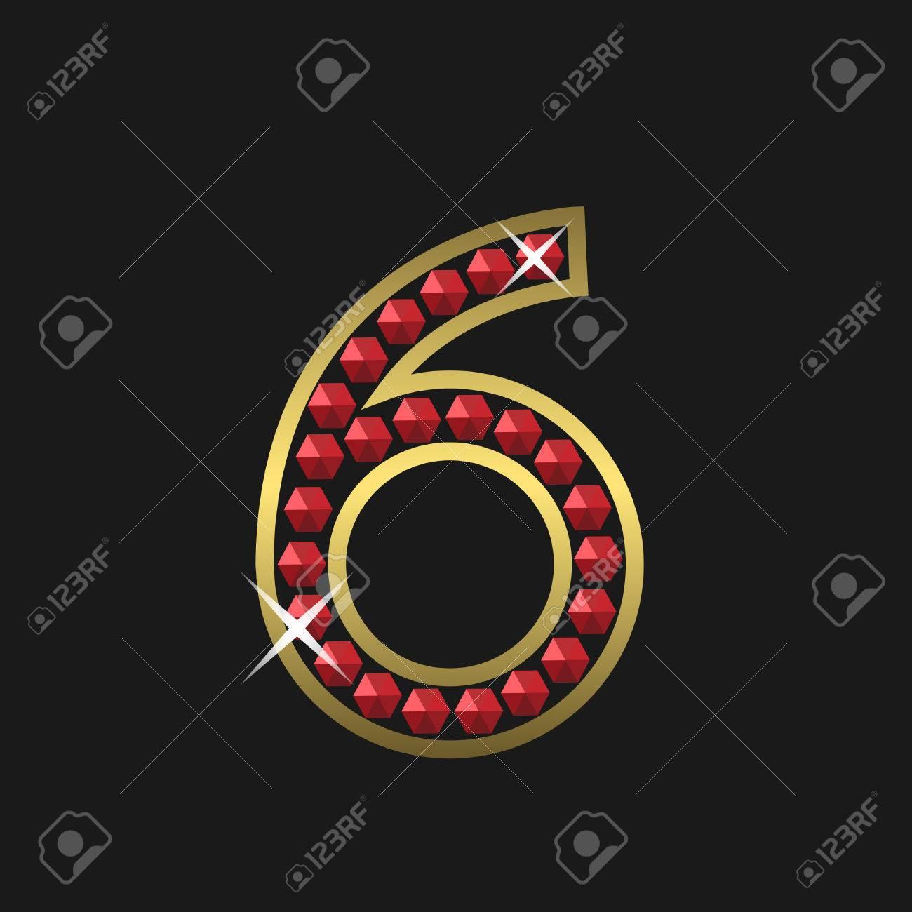 7d50aace8bda Foto de archivo - Número seis de oro símbolo con joyas rojas. De lujo
