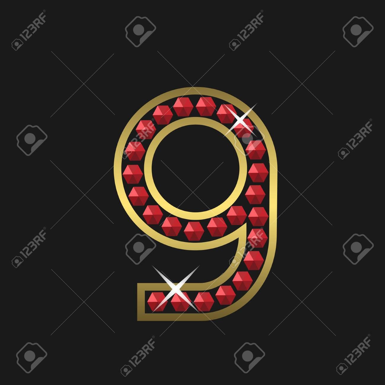 41a0539b9e62 Foto de archivo - Número de oro nueve símbolo con joyas rojas. Lujo