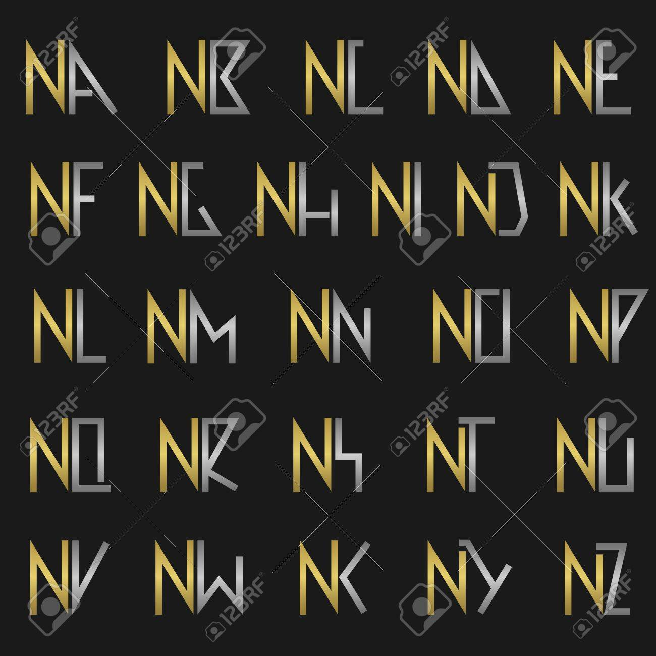 N And Other Alphabet Letters Monogram Royalty Free Cliparts Vectors And Stock Illustration Image 53138848