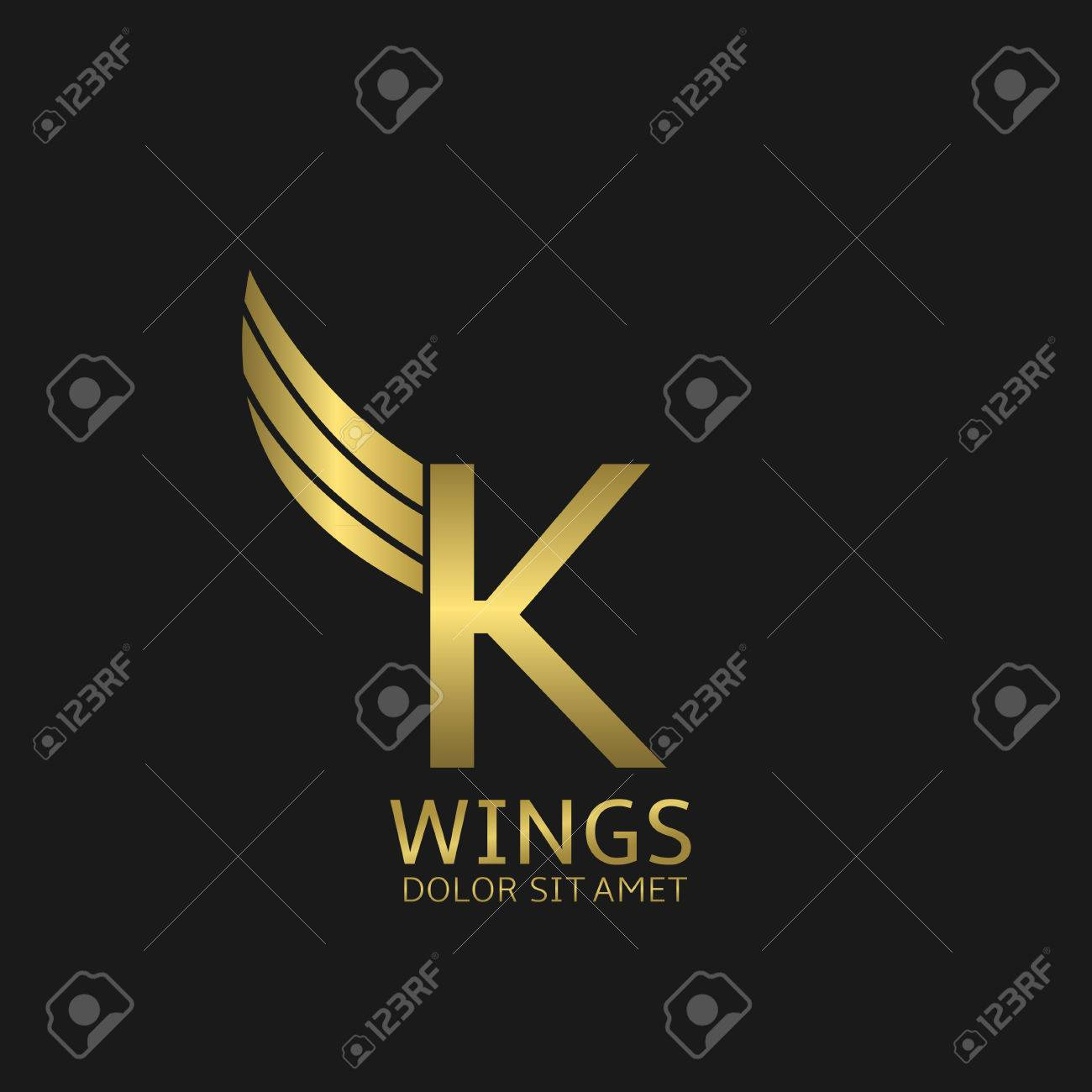 golden k letter template with golden wings stock vector 54768253