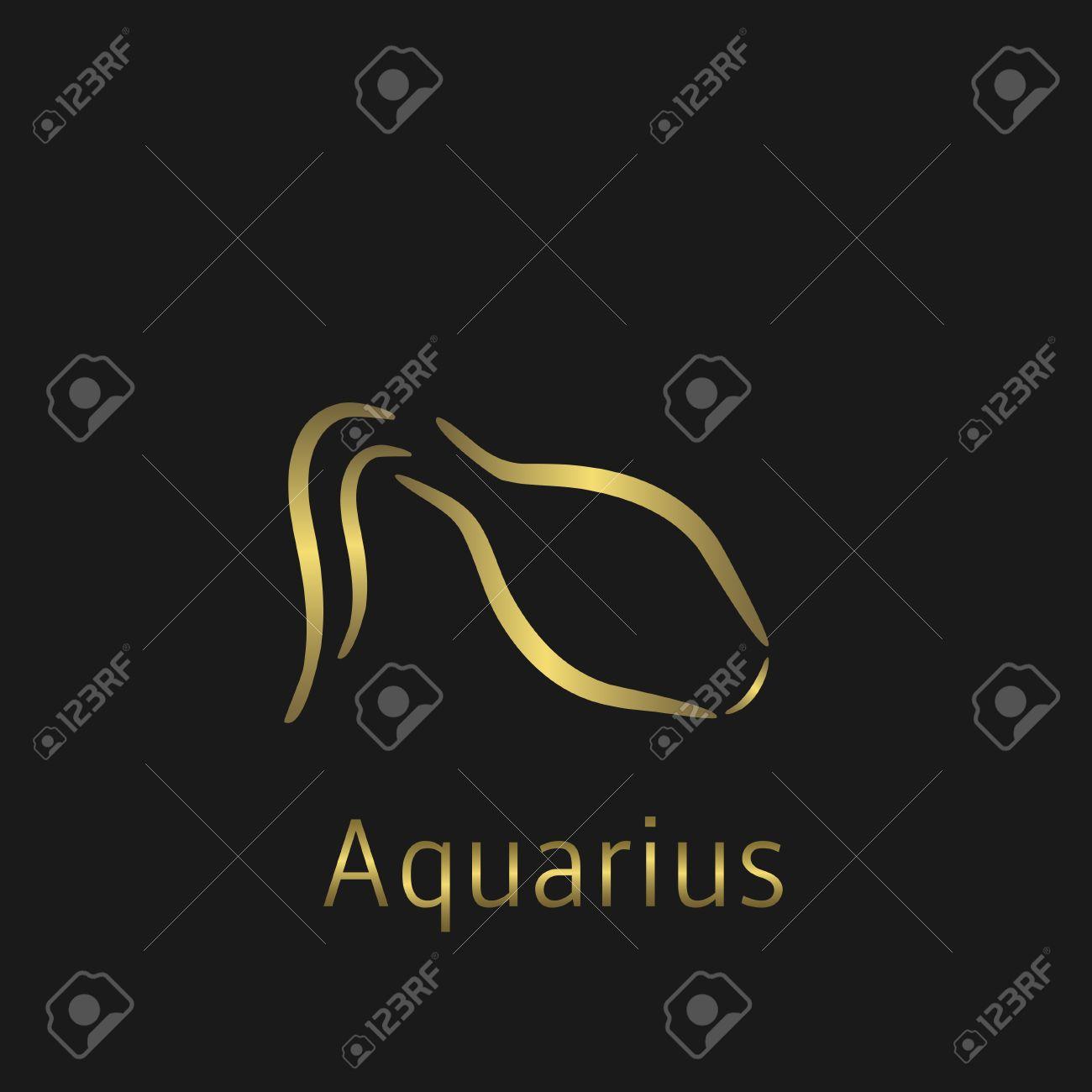 Aquarius Zodiac sign  Aquarius abstract symbol  Aquarius golden