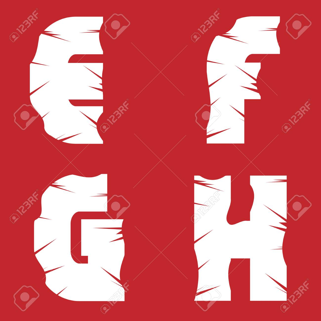 efgh grunge letters white scratch alphabet on the red background