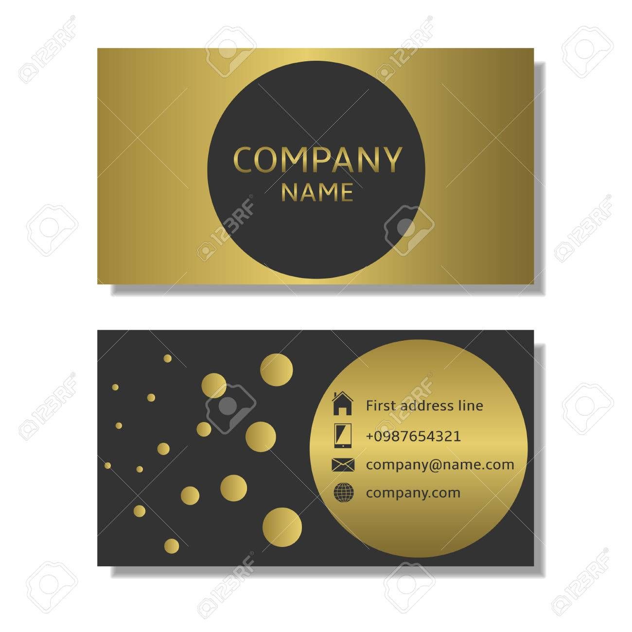 Business card template golden business card with place for company business card template golden business card with place for company name stock vector 58407919 cheaphphosting Image collections