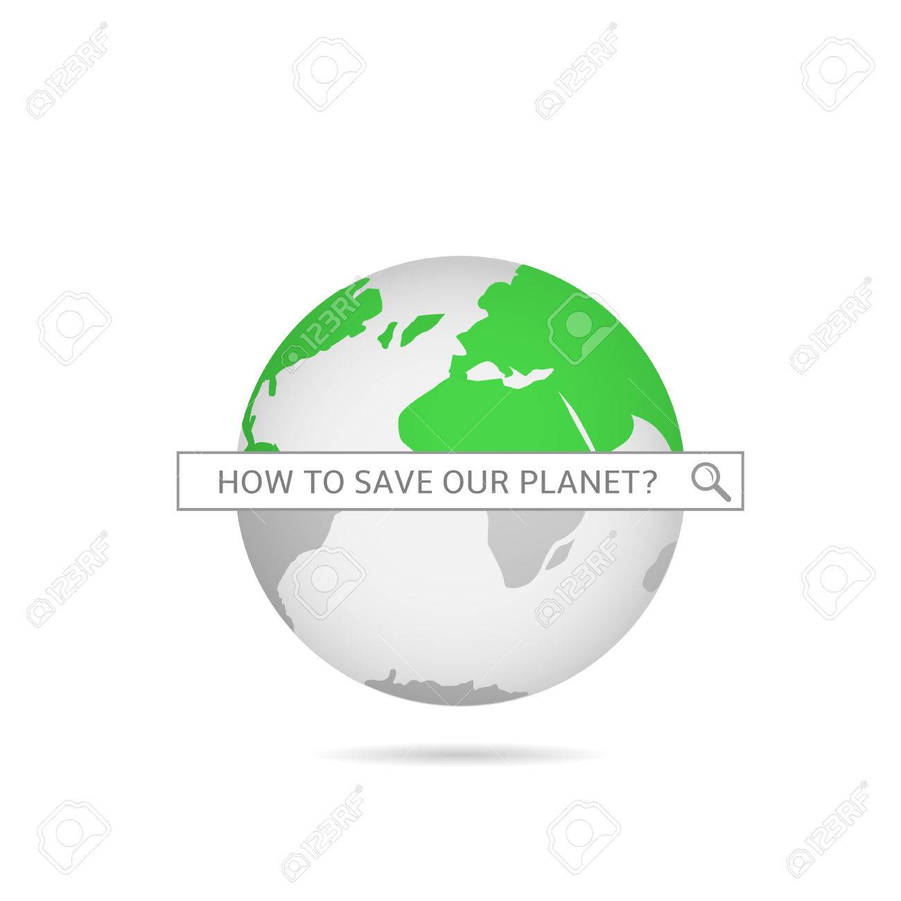 Save Our Planet Green World Map Vector Illustration Royalty Free