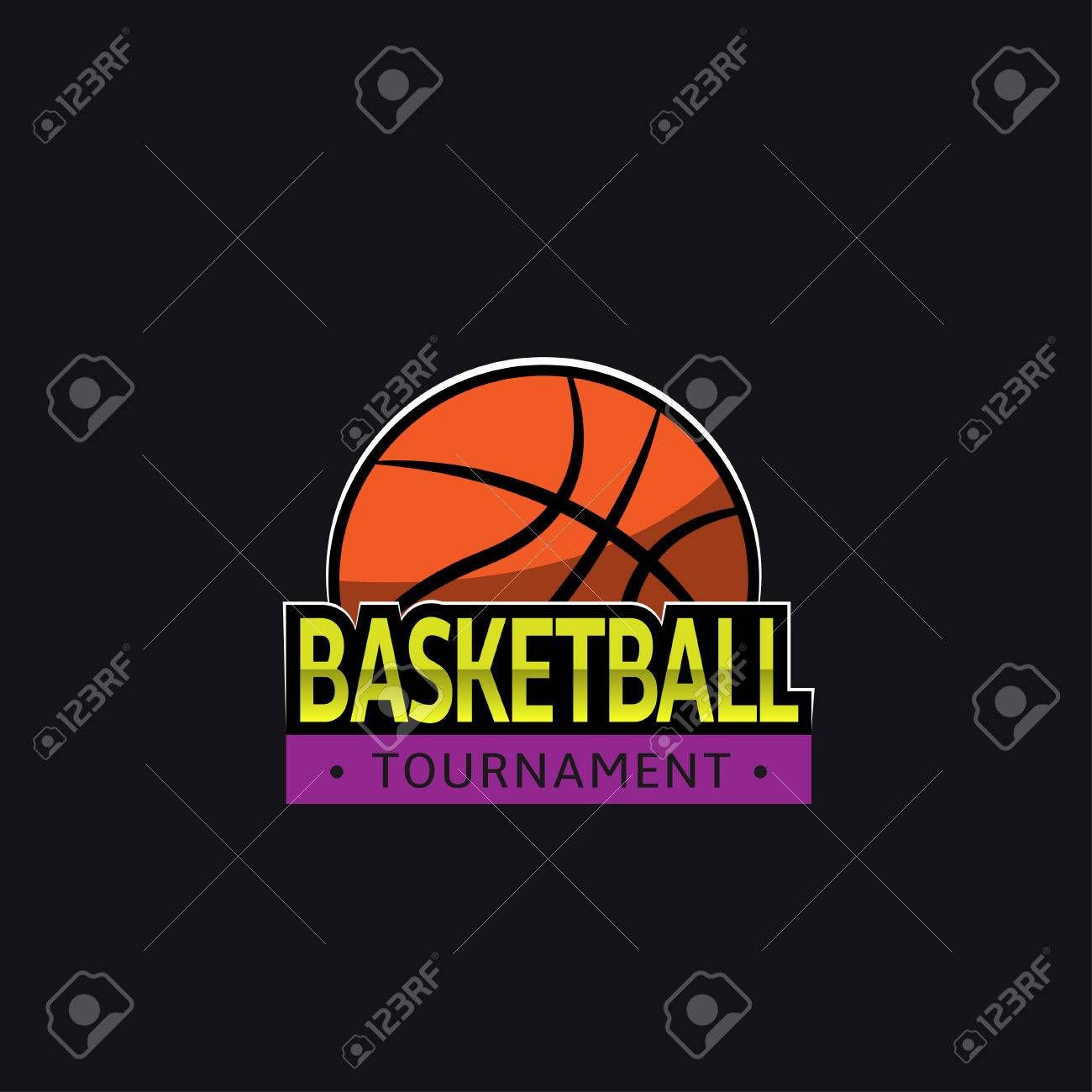 Basketball Tournament Logo Template Stock Photo, Picture And Royalty ...
