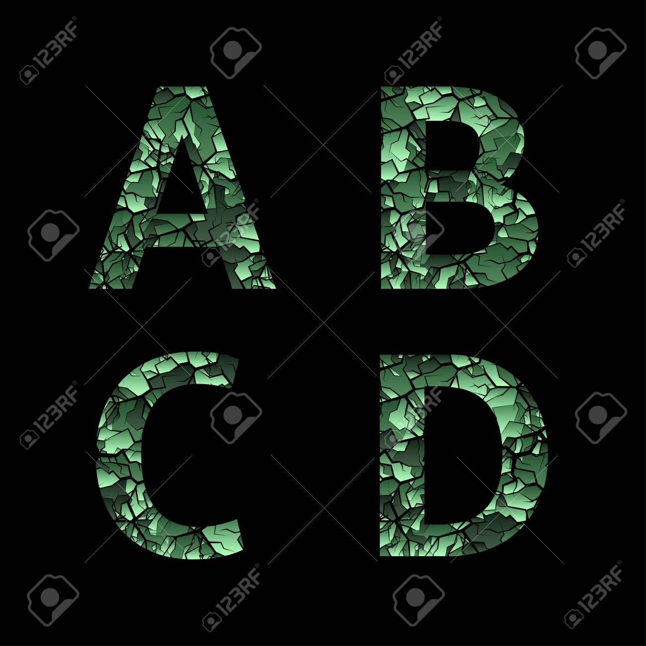 A B C D green camouflage letters  Army font, military alphabet