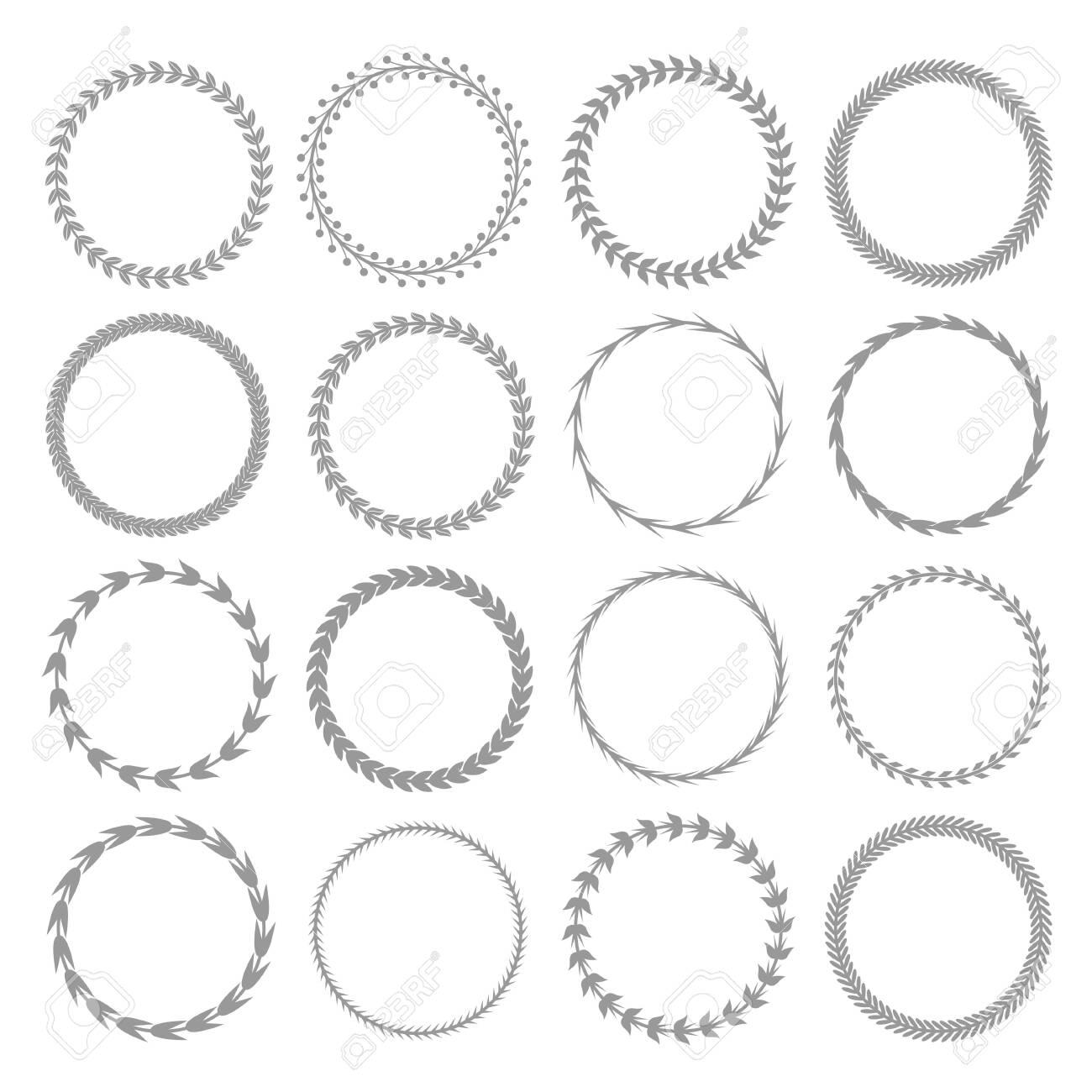 Laurel wreath label badge set isolated, Vector illustration - 124139105