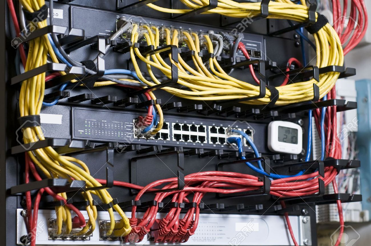 Network Hub And Patch Cables In The Rack Stock Photo, Picture And ...