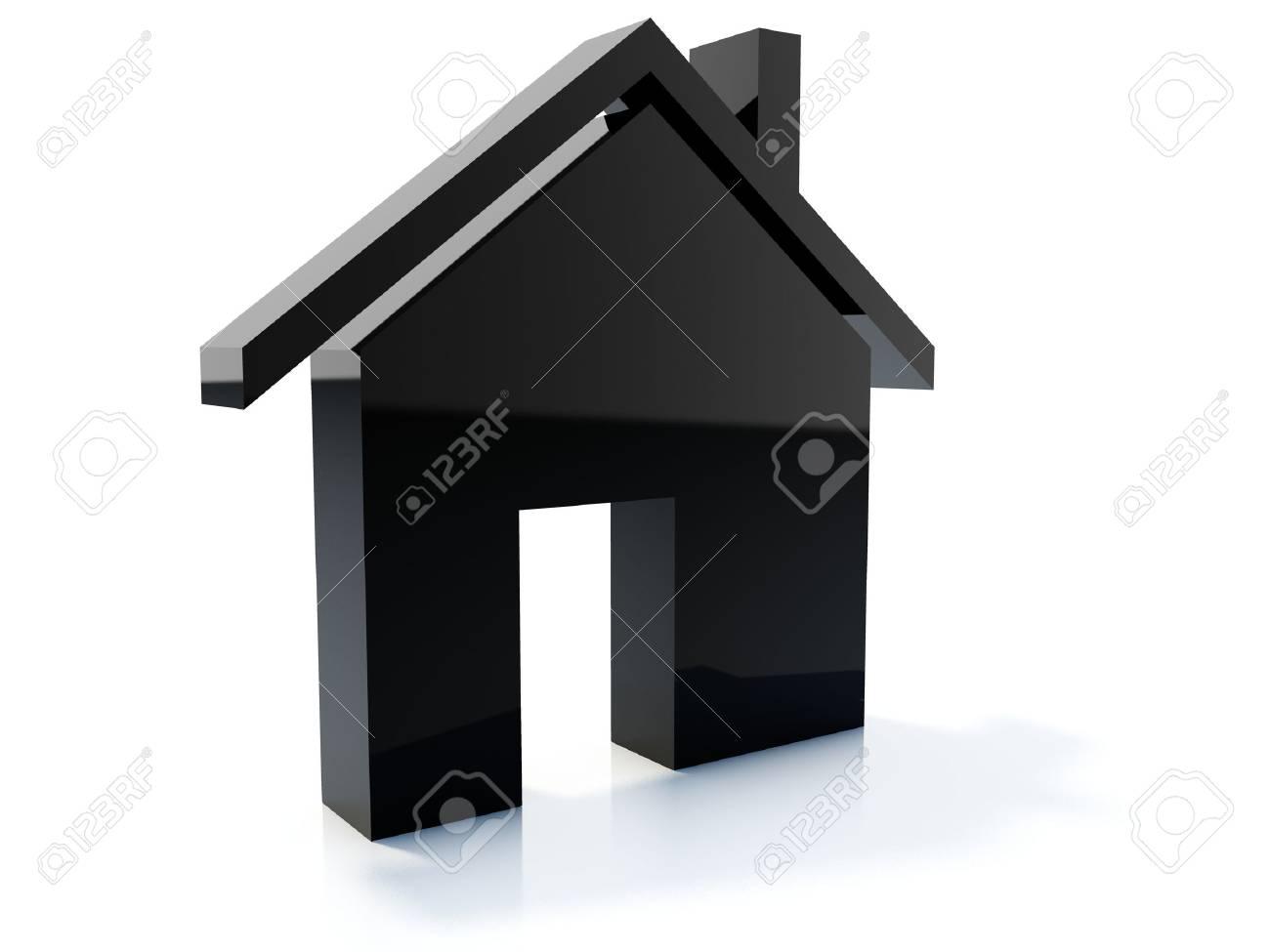 Black home icon isolated on white Stock Photo - 4224667