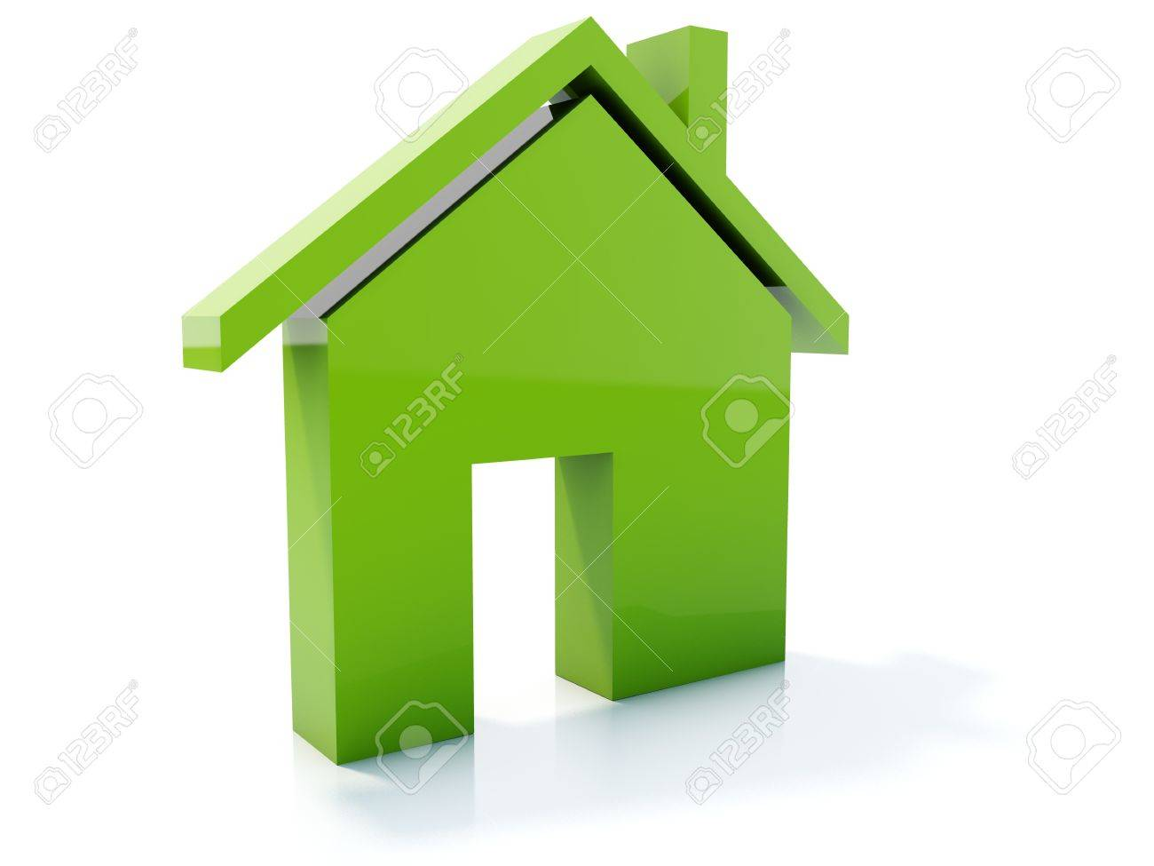 Green home icon isolated on white Stock Photo - 4224669