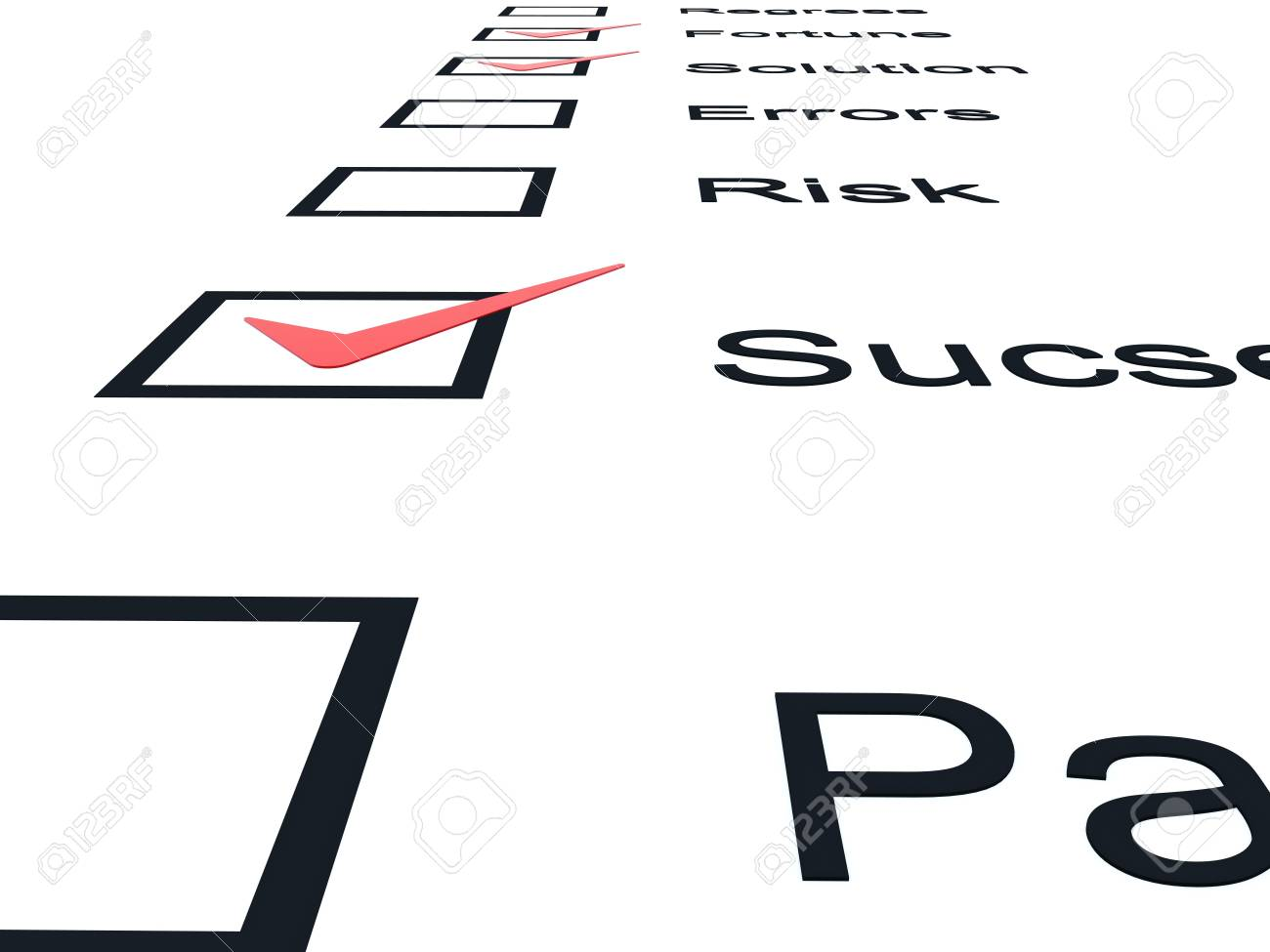 Checklist with red marks isolated on white Stock Photo - 6371813