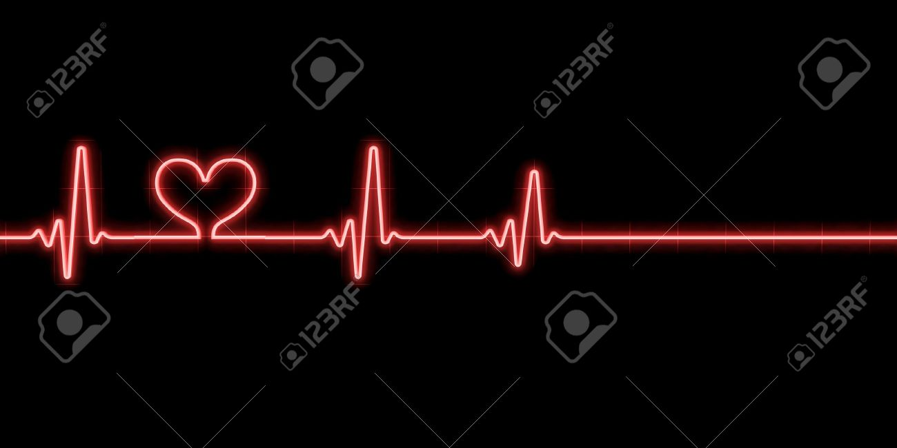 Heartbeat With Heart Symbol Isolated On Black Background Stock Photo Picture And Royalty Free Image Image 9369920