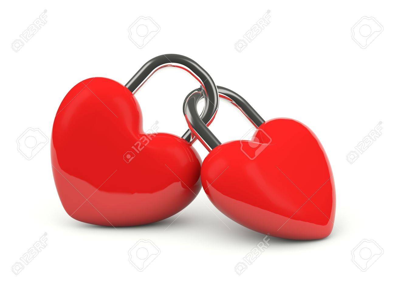 two hearts locked together isolated on white stock photo picture