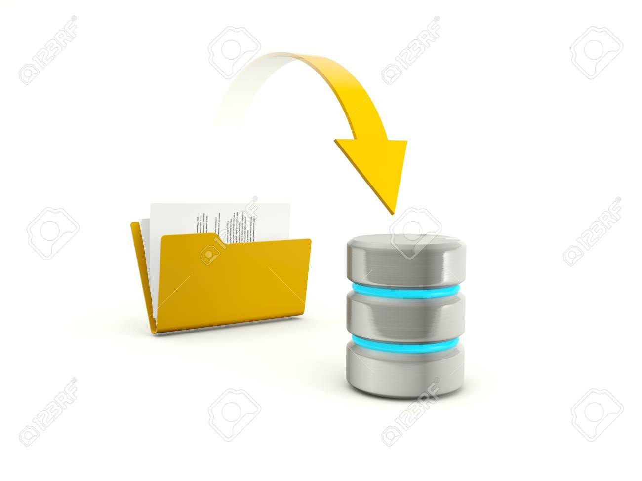 Copying files from folder to database Stock Photo - 12447560