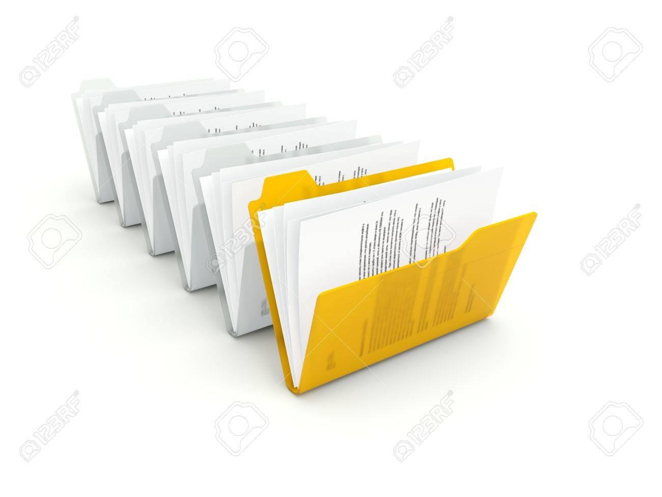 Orange folder with files isolated on white Stock Photo - 15471223