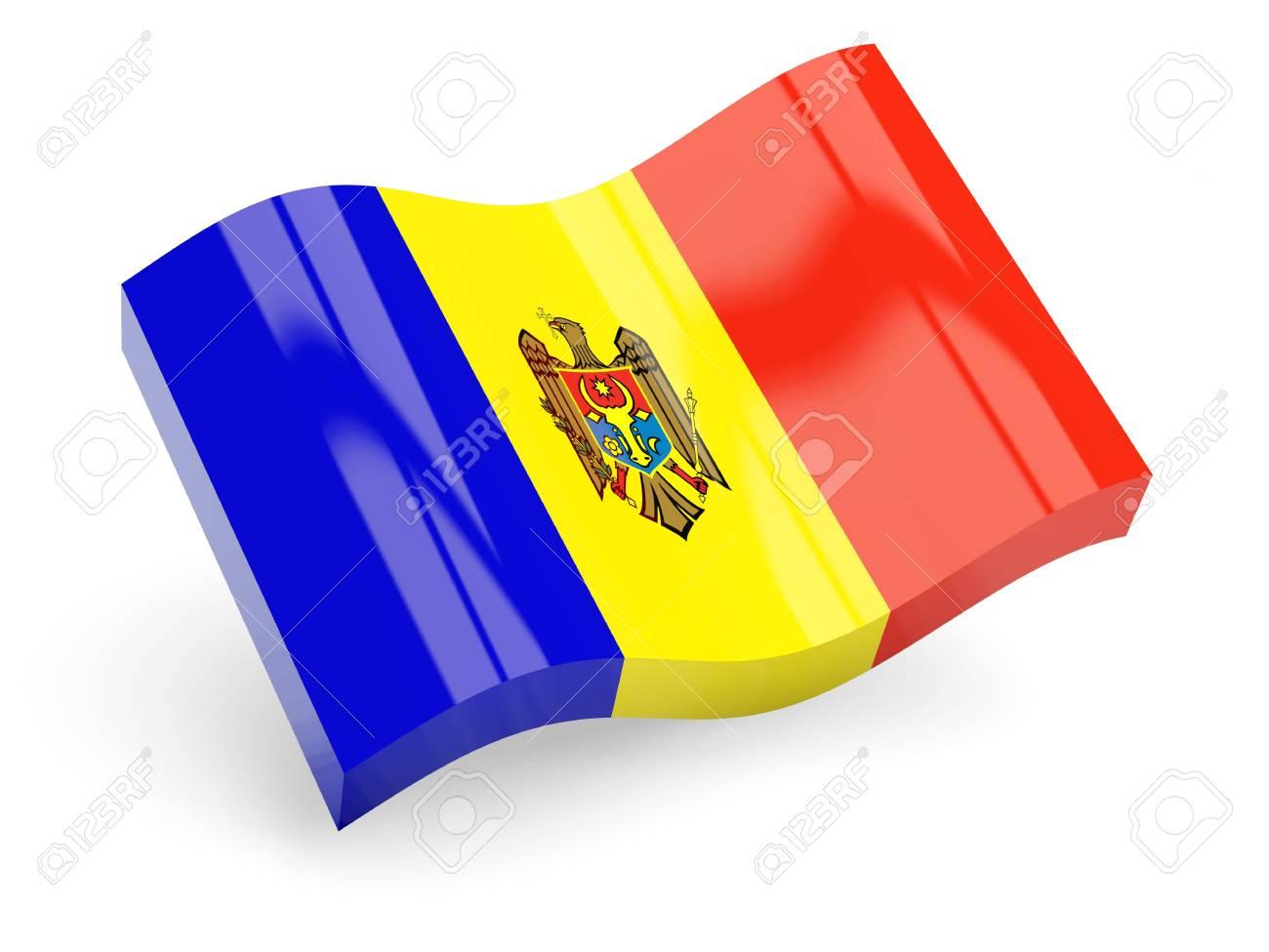 3d flag of moldova isolated on white Stock Photo - 18396946