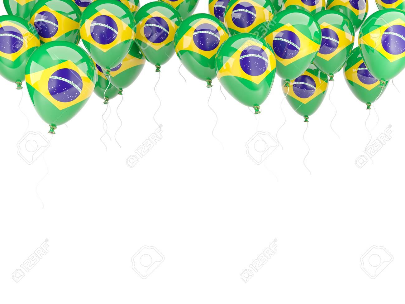 Ballon Rahmen Mit Flagge Von Brasilien Auf Weißem Lizenzfreie Fotos ...