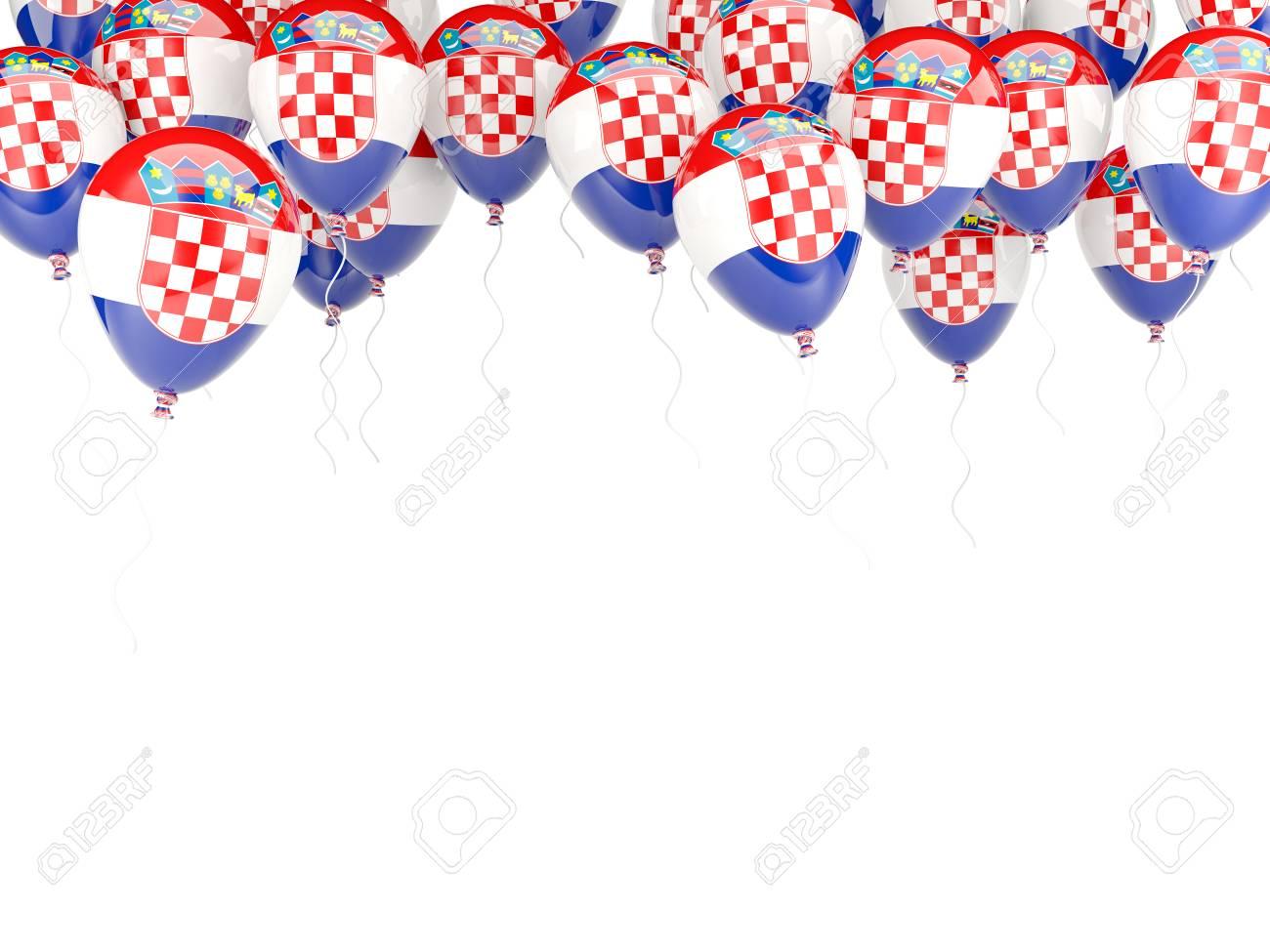 Balloon Frame With Flag Of Croatia Isolated On White Stock Photo ...