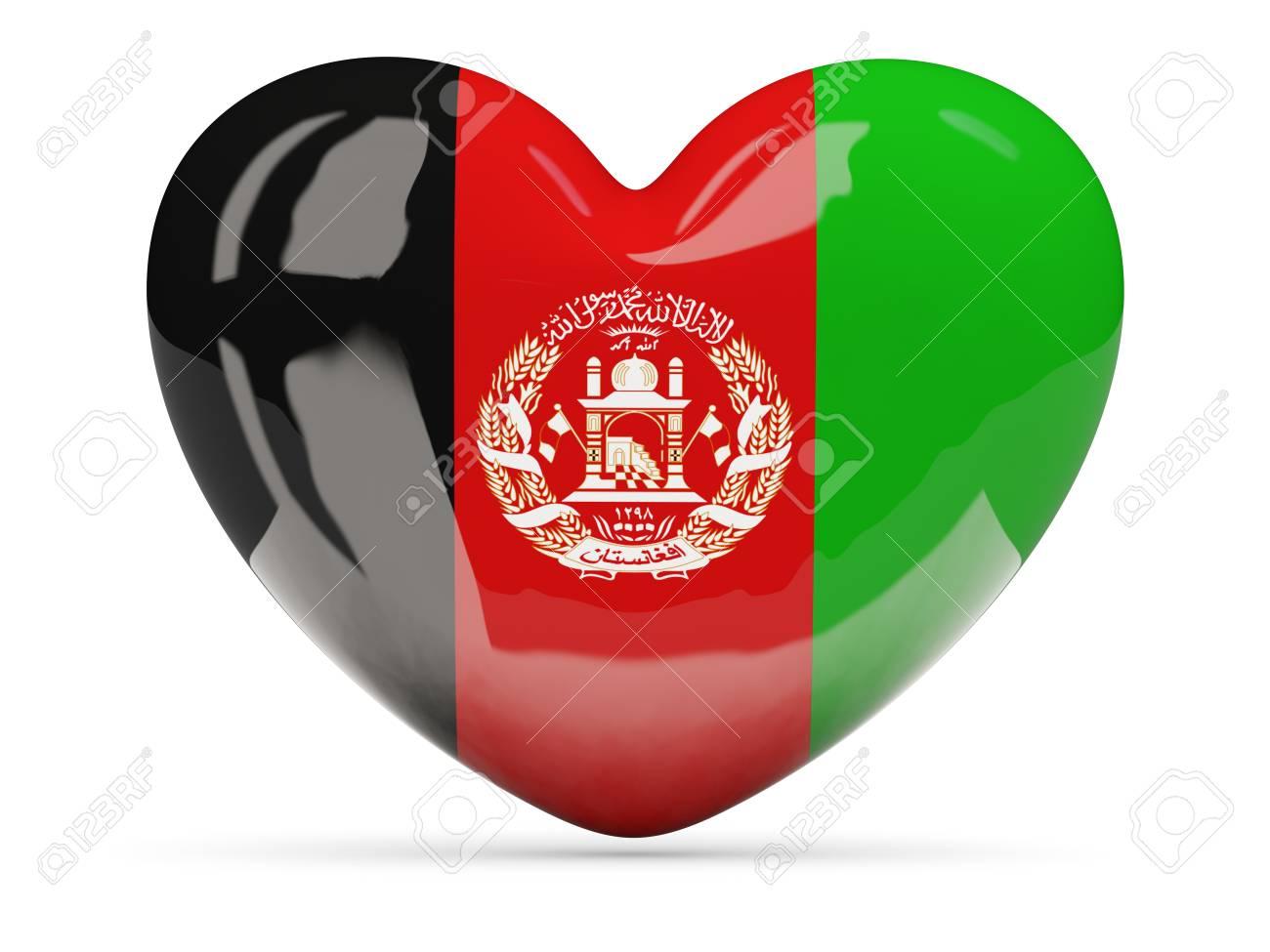 Herzformige Symbol Mit Flagge Von Afghanistan Isoliert Auf Weiss