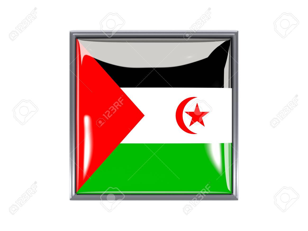 Metal Enmarcado Icono Cuadrado Con La Bandera Del Sáhara Occidental ...