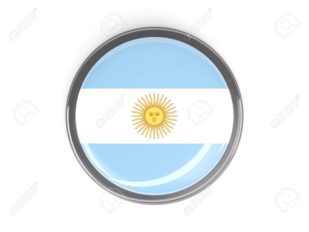 Metal Enmarcado Botón Redondo Con La Bandera De Argentina Fotos ...