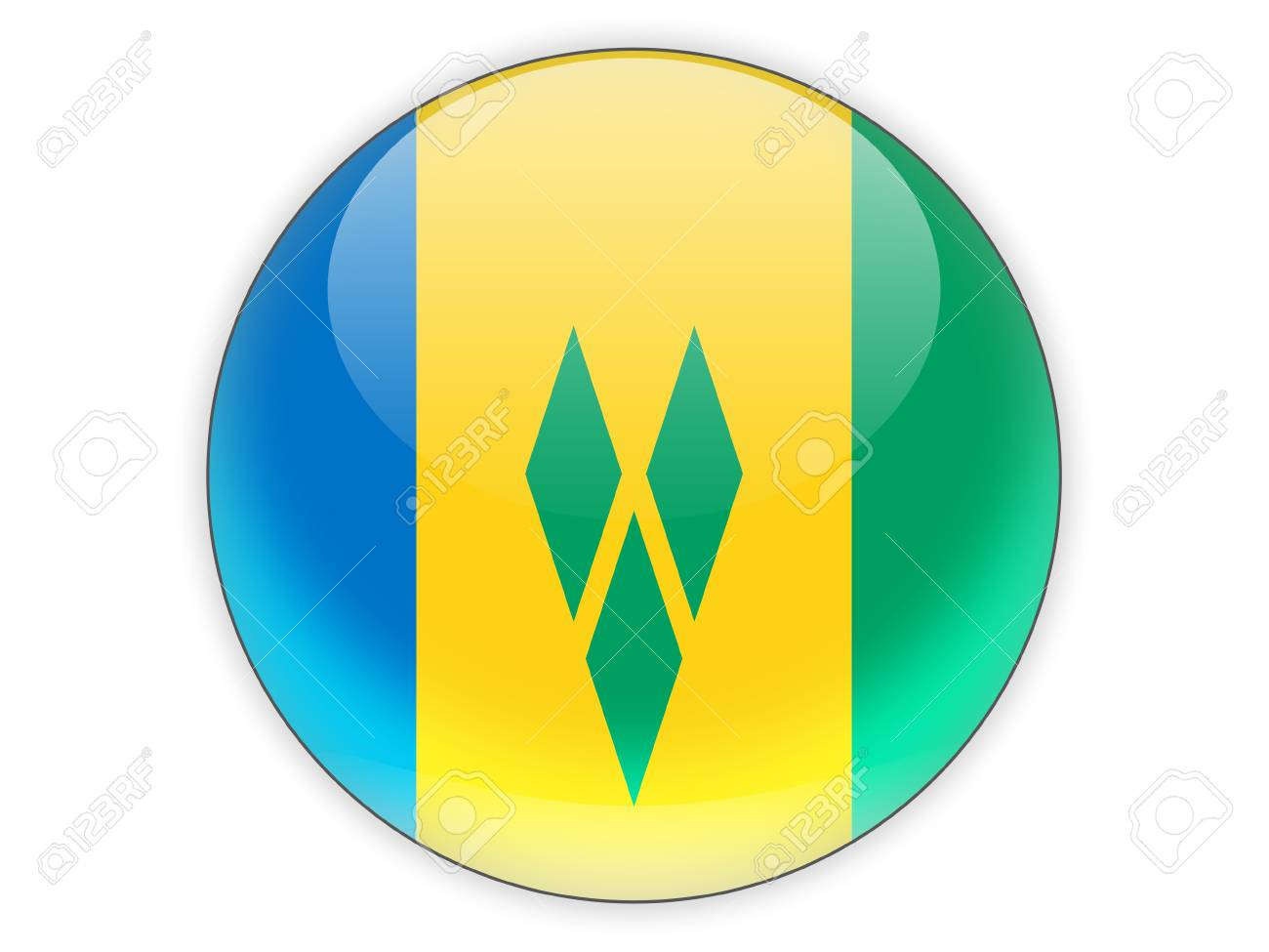 Round icon with flag of saint vincent and the grenadines isolated